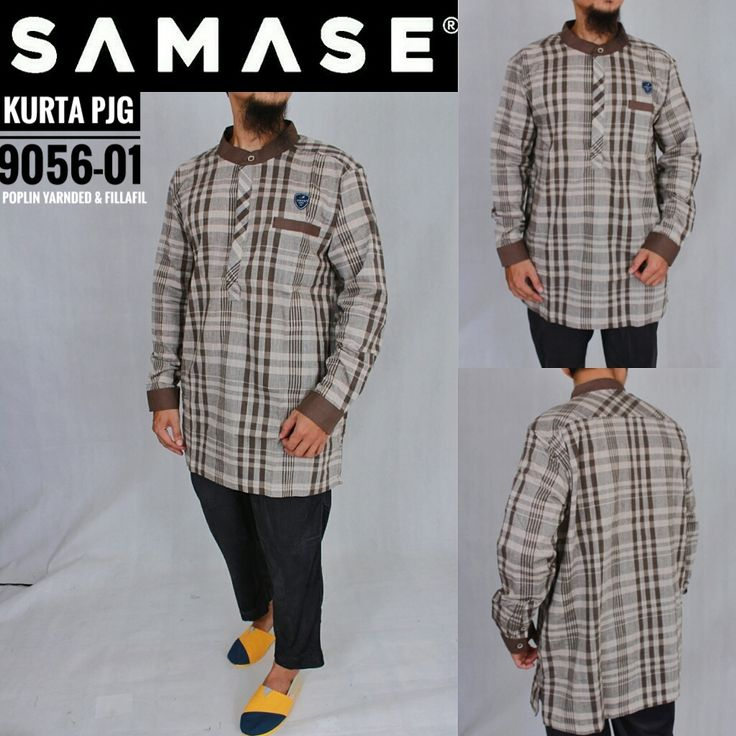 SAMASE GAMIS KURTA PAKISTAN 9056 PJG Warna Kotak Kerah Coklat