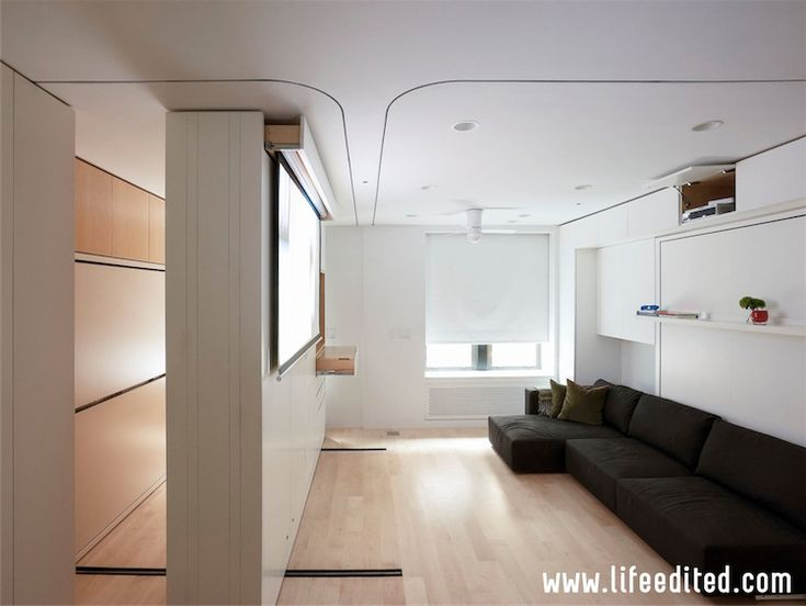 Furniture and different spaces hidden in walls. Could this be the future of small apartments in big cities?