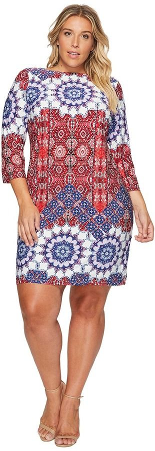 London Times Plus Size Imperial Tile 3/4 Sleeve Shift Dress