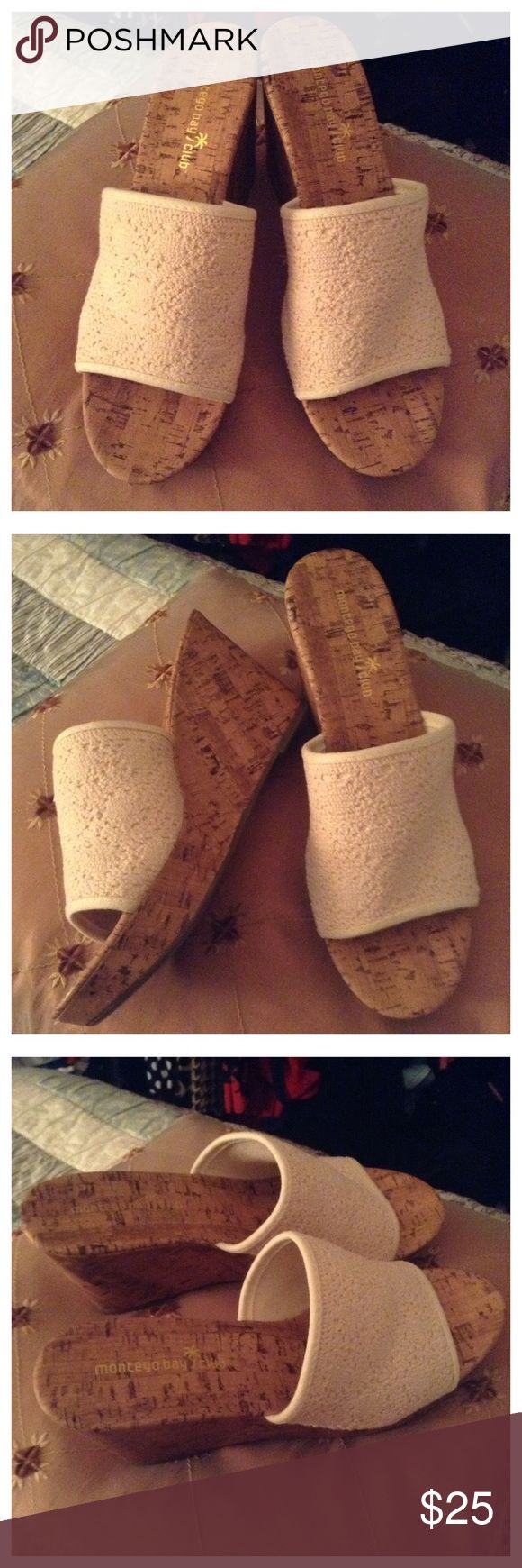 """Montego Bay 🌴 Club® Cream Crochet Wedge Sandals Montego Bay 🌴 Club® Cream crochet cork wedge sandals. Approx.: 4"""" wedge, 1"""" platform. NEW WITHOUT BOX! Perfect for warm weather days ahead!! ⭐No bundles for shoes or boots together due to Poshmarks weight restriction! ⭐No trades. ⭐Fast shipping. ⭐No PayPal!⭐️️Price firm, no discounts on bundles! Montego Bay Club® Shoes Sandals"""