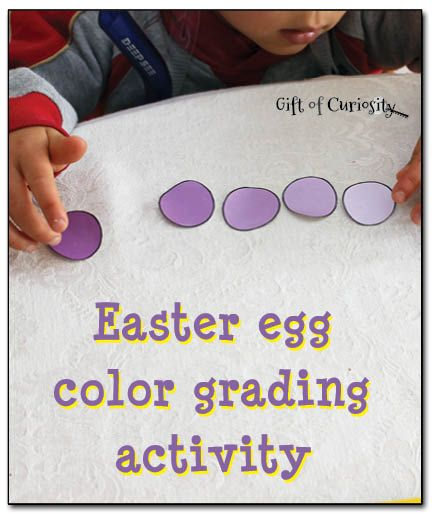 This Easter egg color grading activity helps children practice ordering colors by shade from lightest to darkest.  Get your free printable to do this activity today!  #FreeEasterPrintables #Easter #Montessori #preschool #kbn