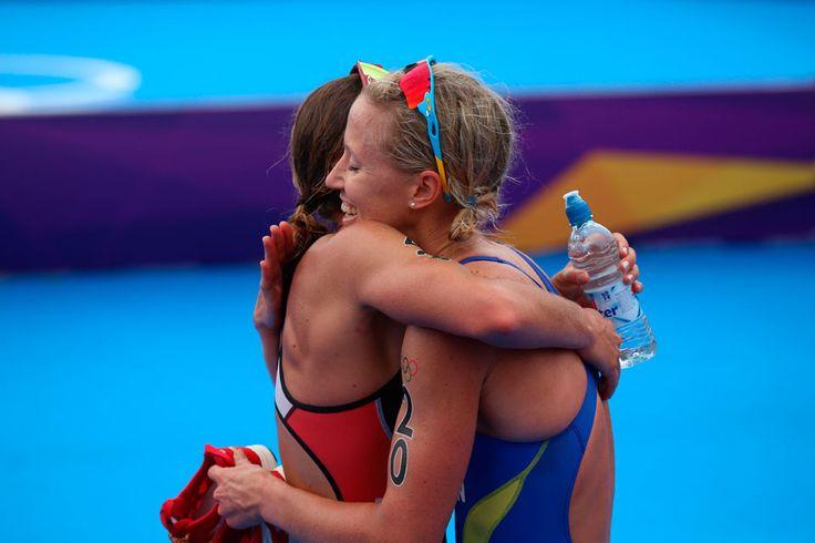 Triathletes embrace