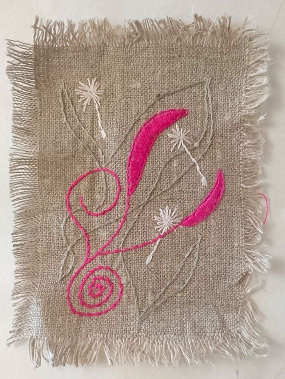 pink leafs white seeds    embroidered patches of linen