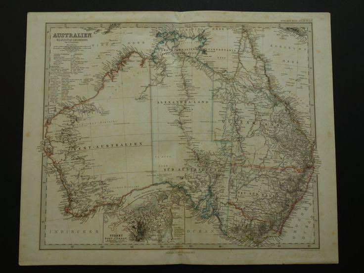 """Antique map of Australia - large original 1872 hand-colored print - vintage poster Sydney Port Jackson - Australien Australie  37x45c 15x18"""" by DecorativePrints on Etsy"""