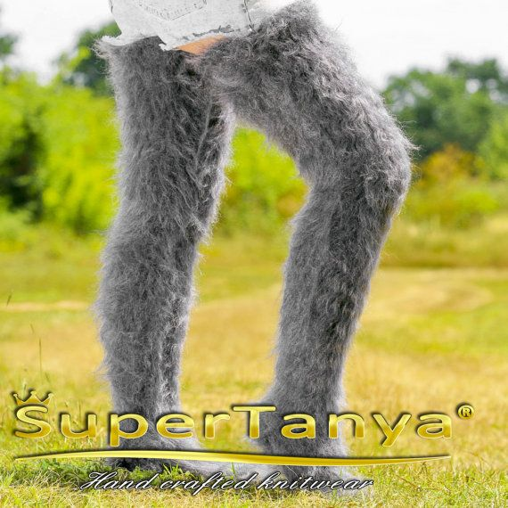 Thick soft and fuzzy hand knitted grey mohair socks stockings leg warmers by SuperTanya