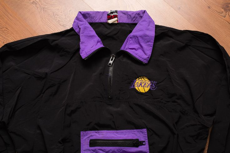 Vintage 90s Los Angeles Lakers Logo Pullover Jacket, NBA Basketball Outerwear Apparel