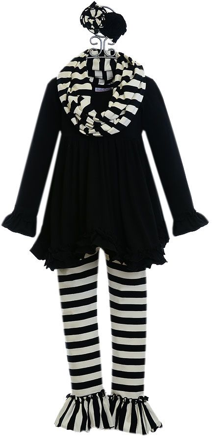 Serendipity Black Ruffle Top with Leggings
