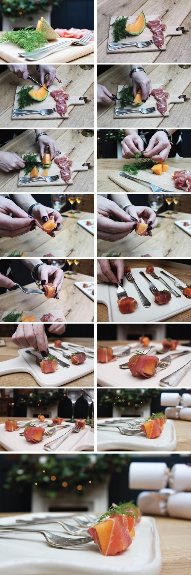 Prosciutto and melon tasting forks tutorial via @Indigo Furniture