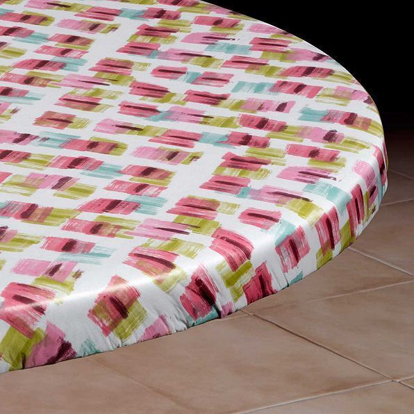 Brush Stroke Round Elasticized Vinyl Table Cover Dining Kitchen 45 To 54 Dia Vinyl Table Covers Table Covers Dining