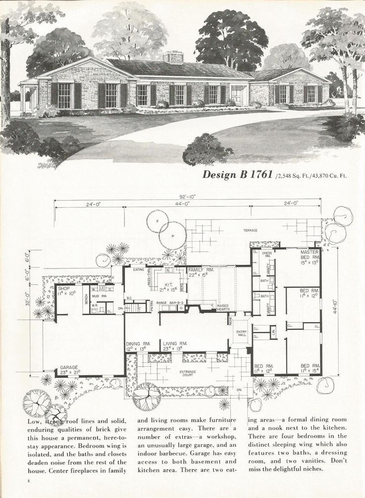 FAVORITE FRONT of old ranch plans.  Open up living and steal space for master bath/closet