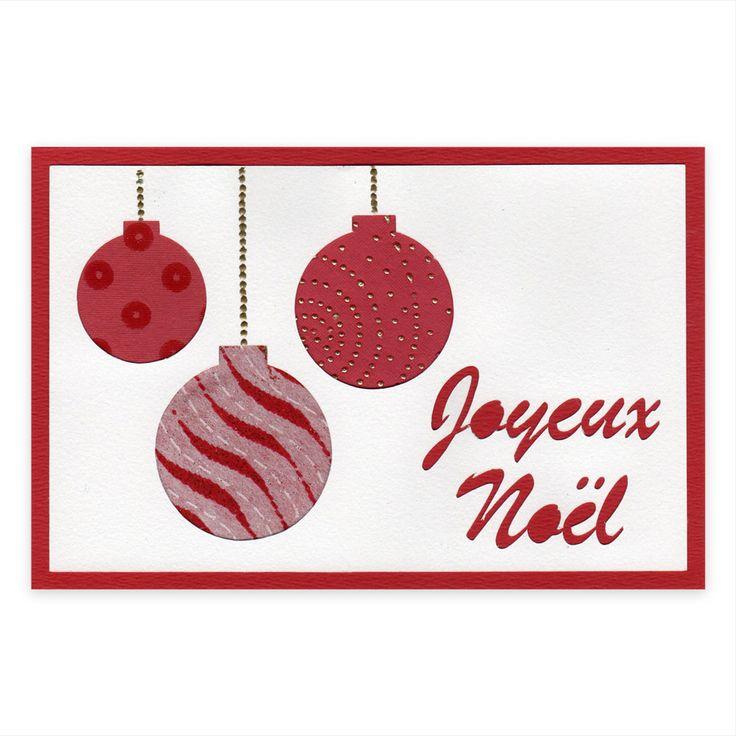 Carte Noël Boules de Noël Rouges, Collection Scrapbooking, Lovely Carte
