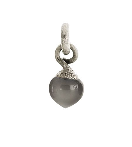 Ole Lynggaard Copenhagen Dew Drop charm (small) Grey Moonstone cabochon on 18ct white gold - Kennedy Jewellers