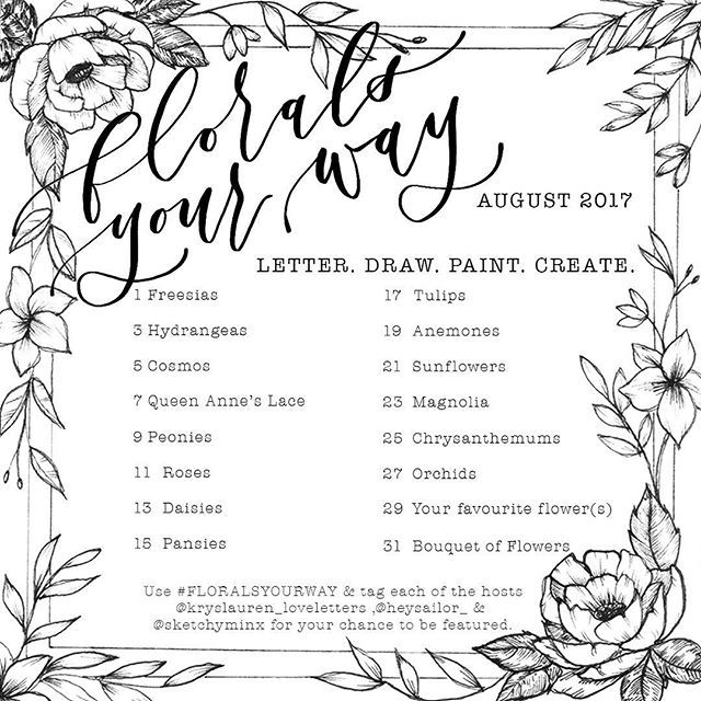 """HAPPY SATURDAY!! I am so excited to announce that together along with my fantastically talented friends; Krysten (@kryslauren_loveletters ) & Meghan (@heysailor_ ) will be hosting an amazing new floral challenge for August!! 🌺🌸🌼 This will be an """"every other day"""" challenge, to give everyone a chance to follow along & spend time creating your entries in the way you want to! You can draw, letter, paint, or all of the above! All you need to do is use the hashtag #FLORALSYOURWAY & tag all…"""