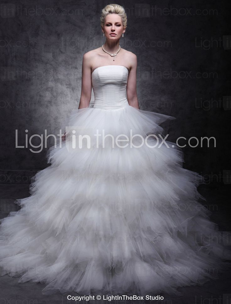 Ball Gown Strapless Sweep / Brush Train Tulle Wedding Dress with Ruche Tiered by LAN TING BRIDE®  sc 1 st  Pinterest & 31 best Light in the box dresses images on Pinterest | Ball gowns ... Aboutintivar.Com