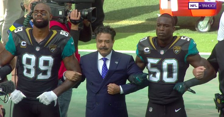 Shahid Khan, who donated $1 million to Trump's inauguration committee, joined dozens demonstrating.