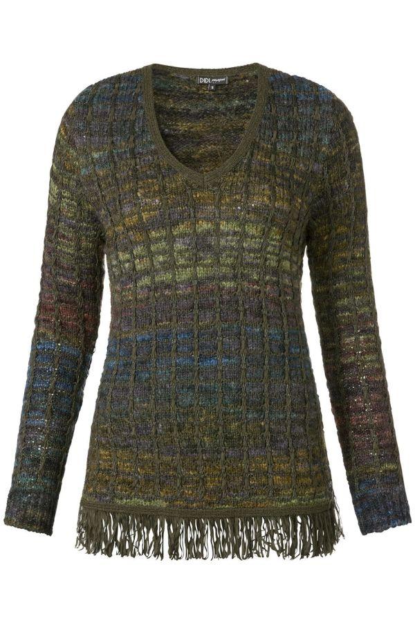 V-hals trui met fringes Donker Groen