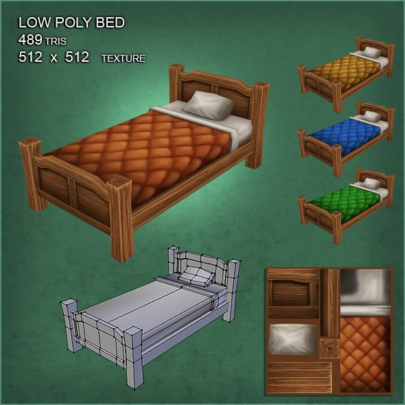 3DOcean Low Poly Bed with 4 Hand-Painted Textures 3958963