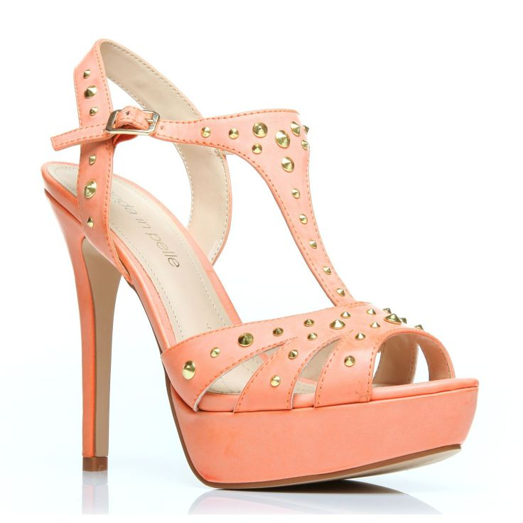 """Moda in Pelle SOLARS.  Make a high impact with these heeled t-bar sandals finished in soft neutral colours and gold studded detail.      STYLE:STUDDED T-BAR PEEP-TOE PLATFORM SANDAL  HEEL: Very High Heel (greater than 4.5"""")  MATERIAL:Porvair."""