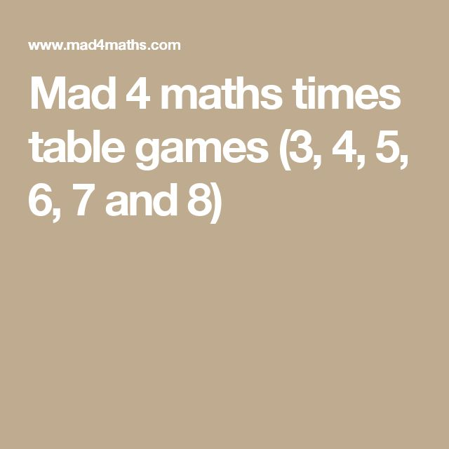 Mad 4 maths times table games (3, 4, 5, 6, 7 and 8) | Math ...