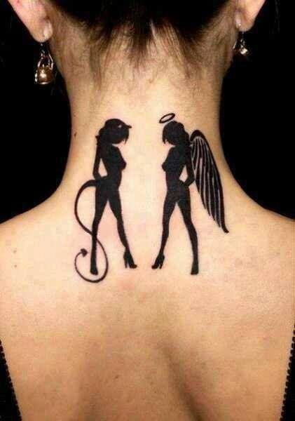 Angel and Demon Tattoo silhouette