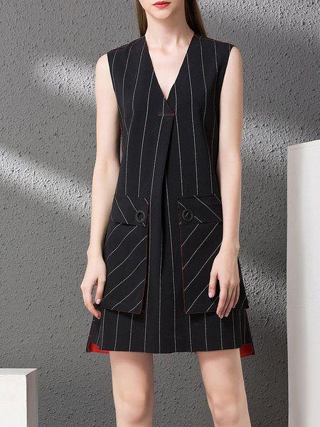 Shop Mini Dresses - Black Sleeveless Stripes V Neck Mini Dress online. Discover unique designers fashion at StyleWe.com.