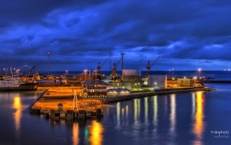 The harbor in Frederikshavn by night