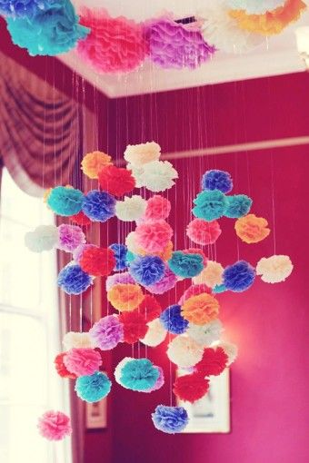 138 best images about art diy on pinterest paper for Hanging pom poms from ceiling