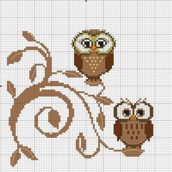 """Fun Little Owls to cross stitch-- they are cute perched on the """"fancy"""" branch"""