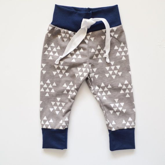 White Triangle Print Baby Joggers Baby by TheHillStitchCompany