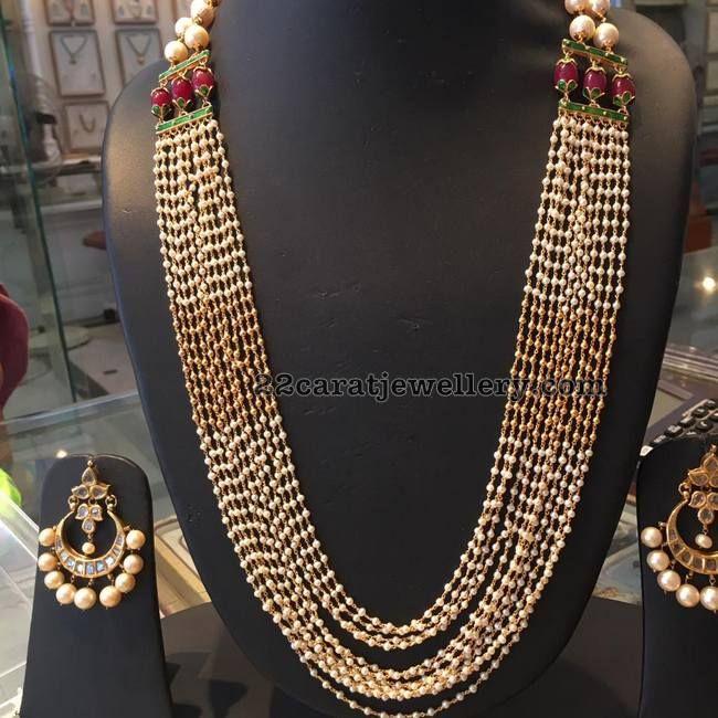 Multi String Pearls Chain Chandbalis