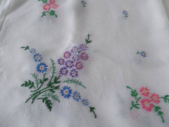 A lovely, vintage, cotton linen (rather shinier and softer than true linen, with a bore even weave), square tablecloth with an attractive hand