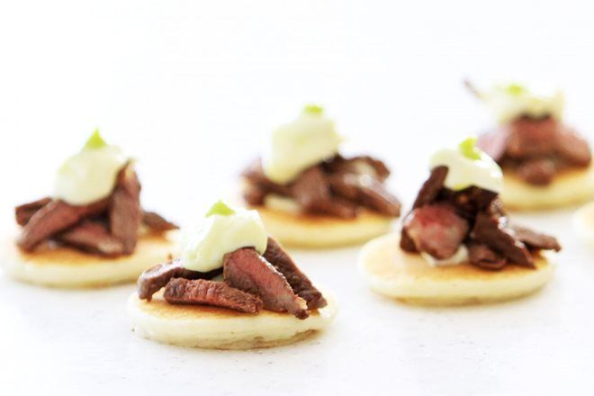 Seared Teriyaki Beef with Wasabi Mayo Blinis made with Marcel's Fancy Blinis
