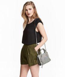 Wide-cut Shorts | Khaki green | Women | H&M US