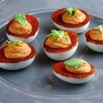 Print Spicy Bloody Mary Deviled Eggs Ingredients 6 hard-cooked eggs peeled 2 tablespoons mayonnaise 2 tablespoons tomato juice 2 teaspoons prepared horseradish 1 teaspoon McCormick Gourmet™ Paprika Hot Hungarian 1/4 teaspoon McCormick Gourmet™ Sicilian Sea Salt 12 small celery leaves Instructions Slice eggs in half lengthwise. Remove yolks; place in small bowl. Mash yolks …
