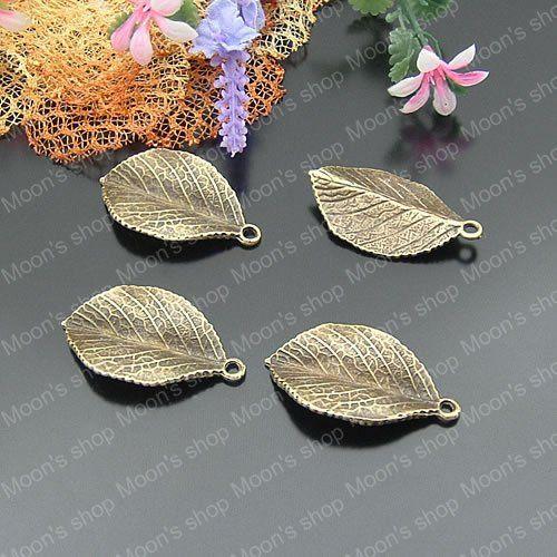 Антикварный бронза 35 * 20 мм листья сплав подвески-талисманы подвески своими руками выводы 10 штук ( JM978 )