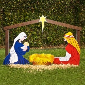 DIY outdoor Nativity scene. Going to try making our own this year!
