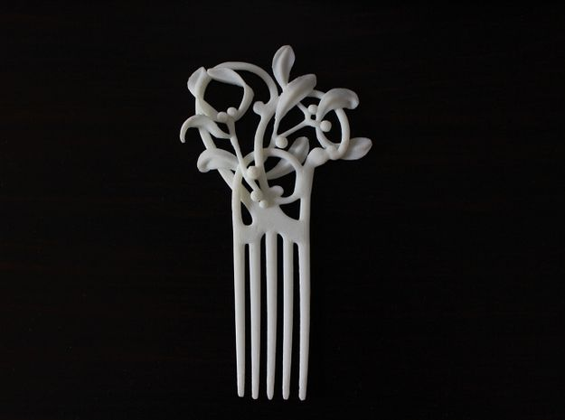 Nouveau Hair Comb Mistletoe by paralogical #ShapewaysWedding