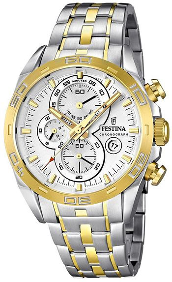 Montre Festina Homme - Quartz Chronographe - Bracelet et Cadran en Acier inoxydable Argent et Or - F16655/1 - Date - Chronomètre