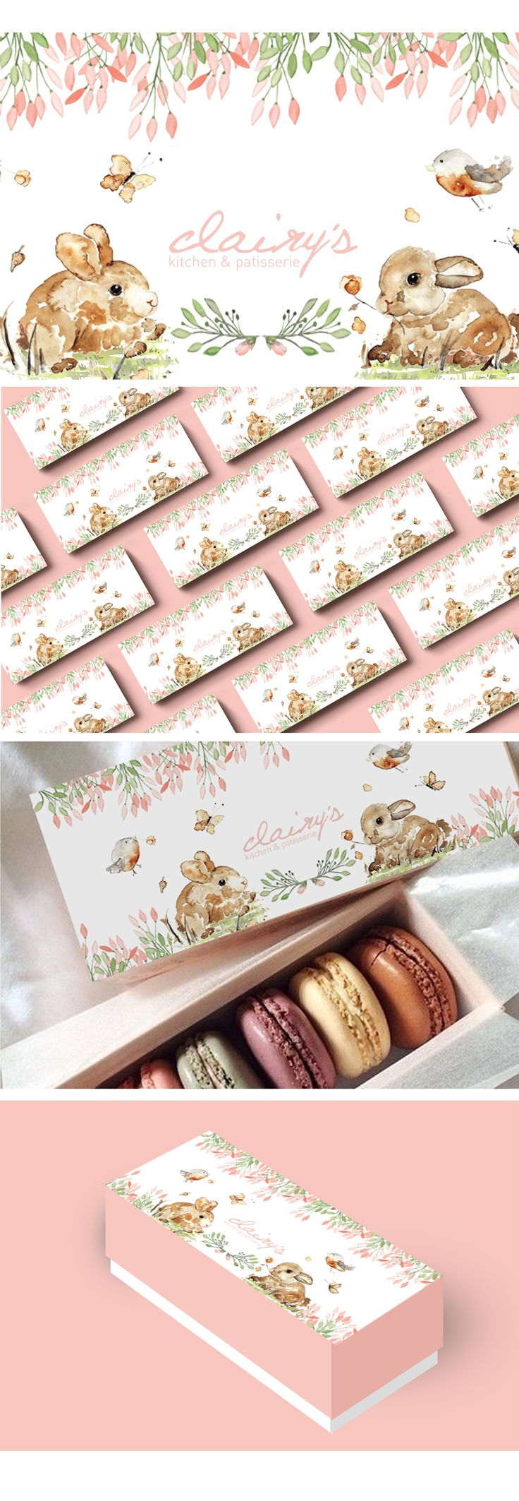 macaron packaging with theme : pastel; watercolor
