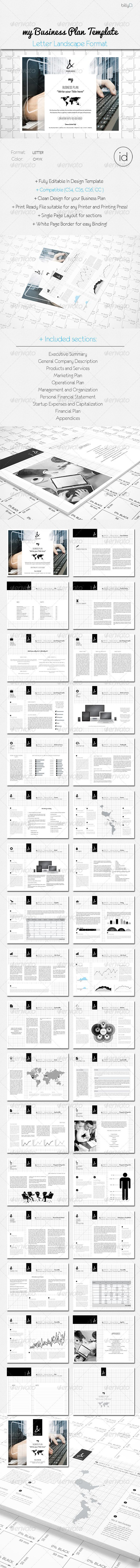 My Business Plan Template - Letter Landscape Forma