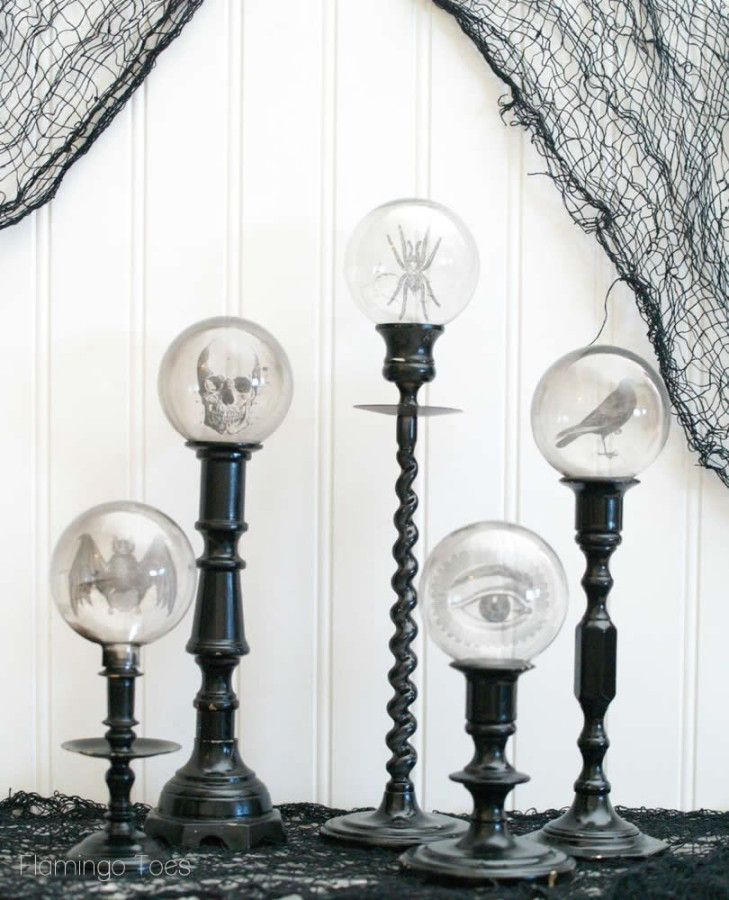 Crystal Ball Candlesticks - modify with reclaimed glass jars and vessels