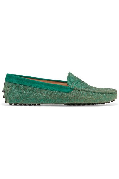 Tod's - Gommino Suede-trimmed Glittered Leather Loafers - Green - IT38.5