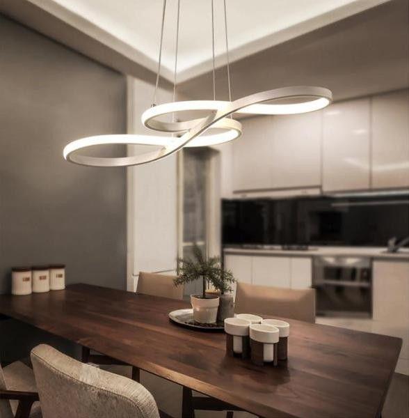 Lampadario a 3 luci, per salotto e sala da pranzo, design moderno in cemento,. Led Infinite Loop Chandelier Lampadari Illuminazione Design Arredamento