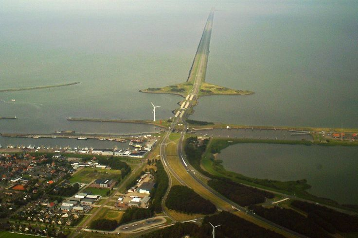"""Driving on water"" on the 32 km long Afsluitdijk, the A7, in The Netherlands"