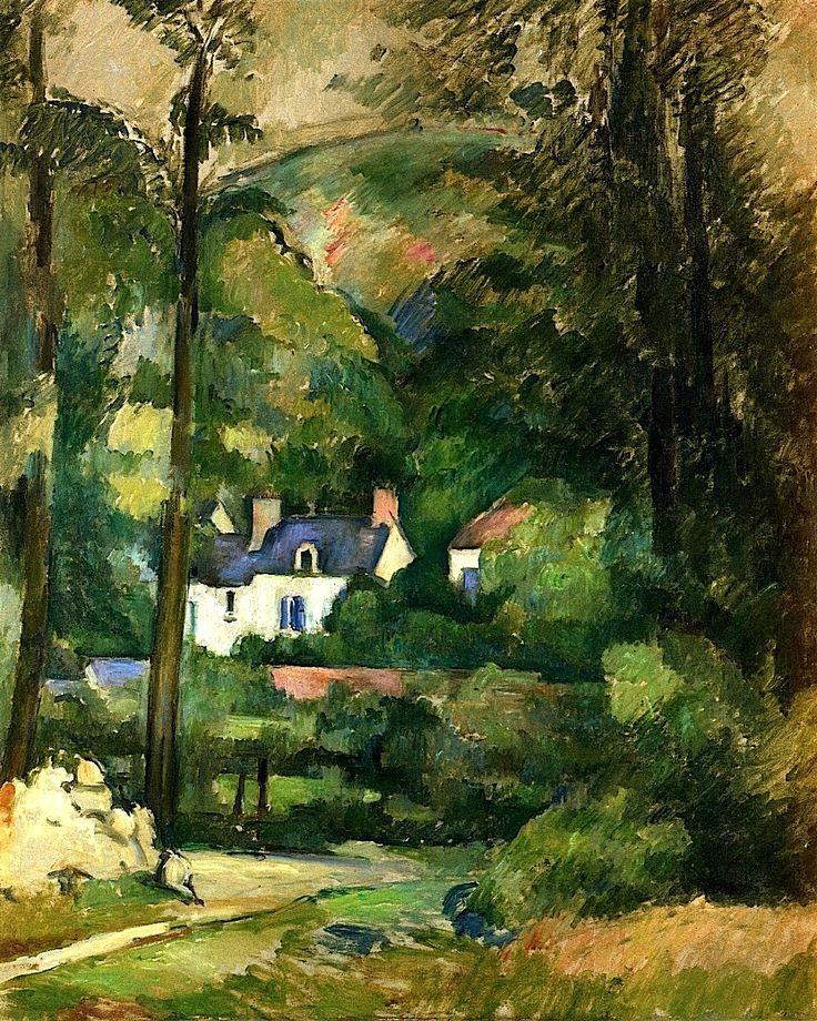 """PAUL CÉZANNE (Francês: Aix-en-Provence, 1839 - 1906) Pode ser considerado como a ponte entre o impressionismo do final do século XIX e o cubismo do início do século XX. A frase atribuída a Matisse e a Picasso, de que Cézanne """"é o pai de todos nós"""", deve ser levada em conta / Houses in the Greenery, 1881"""