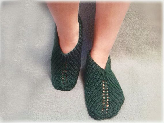 Green Slippers by WarmandCozyKnits on Etsy