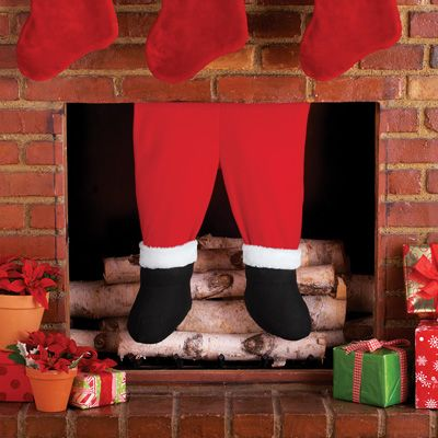 Santa Claus Fireplace Chimney Legs Christmas Decorations