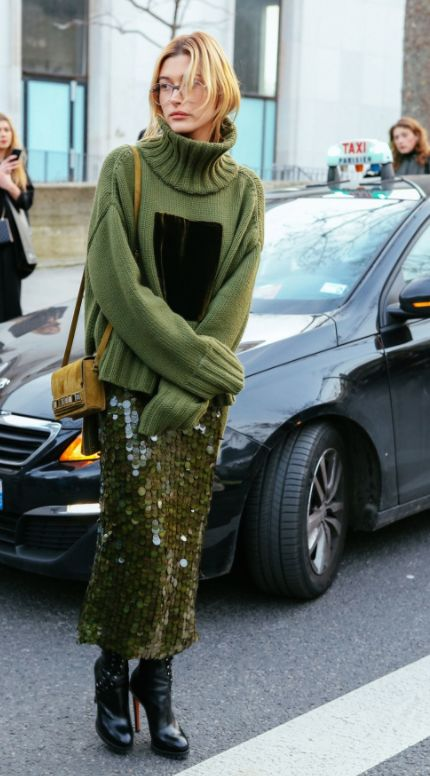 Loving Hailey Baldwin's all green outfit!
