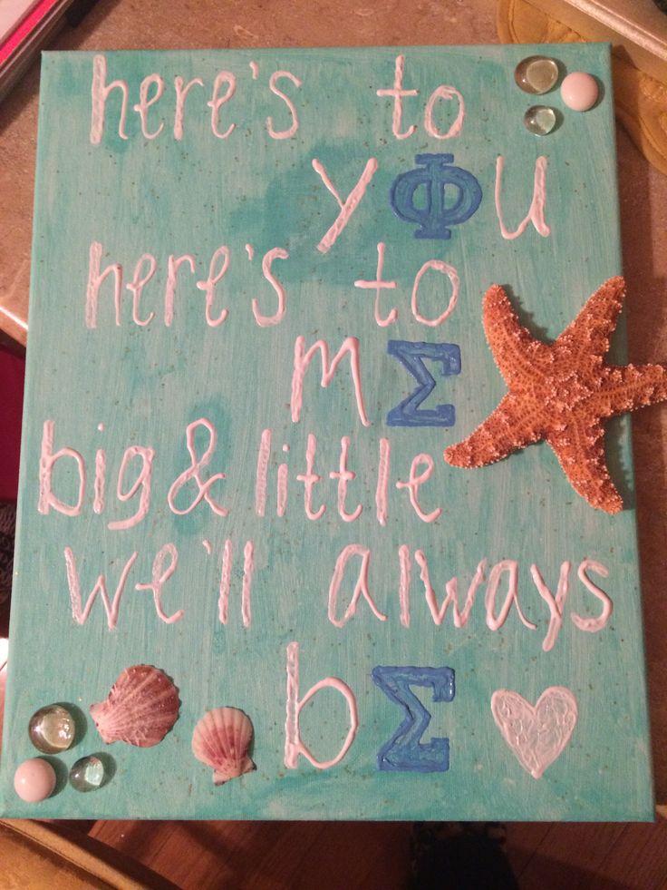 Sorority crafts : big little beach canvas, Phi Sigma Sigma letters #DIY