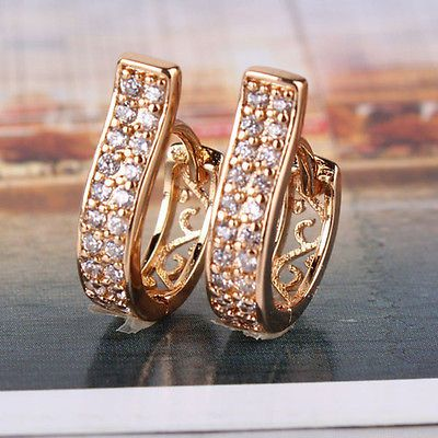 New Unique 18k gold filled swarovski crystal luxury hollow band hoop earring